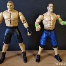 Figuras y Muñecos Pressing Catch: LOTE DE 2 FIGURA LUCHADORES DE WWE BROCK LESNAR Y JOHN CENA-18CM APROX-MATTEL-2014-VER FOTOS. Lote 218036078
