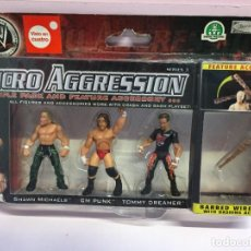 Figuras y Muñecos Pressing Catch: SET WWE MICRO AGGRESSION TRIPLE PACK SHAWN MICHAELS + CM PUNK + TOMMY DREAMER SERIE 3 2008 3 PACK. Lote 243537235