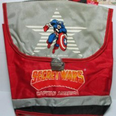 Figuras y Muñecos Secret Wars: ANTIGUA MOCHILA ESCOLAR, CARTERA, BOLSA, SECRET WARS, CAPITÁN AMÉRICA, MARVEL, JOSMAN 1985. Lote 161022490