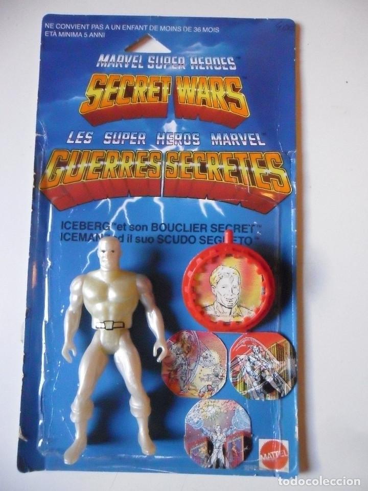 MARVEL SECRET WARS ICEMAN COMPLETO + CARD MATTEL FRANCE 1984 (Juguetes - Figuras de Acción - Secret Wars)