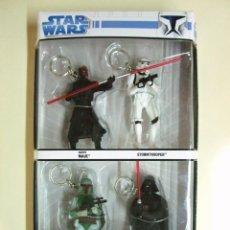 Figuras y Muñecos Star Wars: CAJA 4 LLAVEROS LLAVERO STAR WARS - FIGURA FIGURAS BOBA FETT DARTH VADER MAUL STORMTROOPER - SIMBA. Lote 46633823