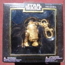 Figuras y Muñecos Star Wars: LLAVERO CON FIGURA DE R2D2 DE STAR WARS EN METAL DORADO - PLACO TOYS. Lote 41183111