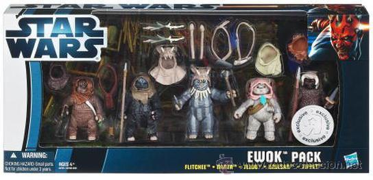 STAR WARS TOYS R US EXCLUSIVE EWOK PACK: FLITCHEE, NANTA, TEEBO, KNEESAA, AND TIPPET (Juguetes - Figuras de Acción - Star Wars)