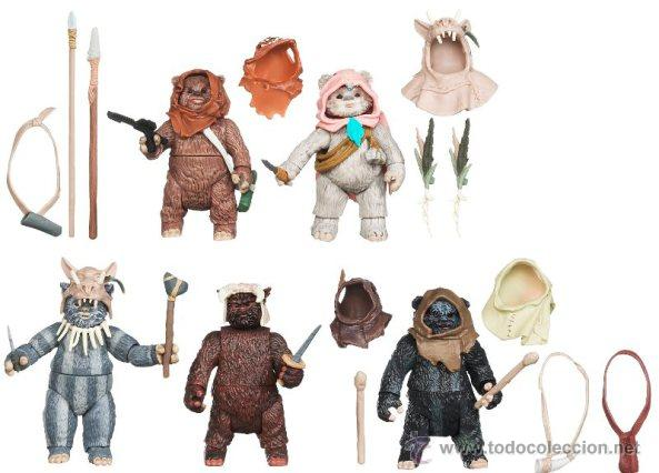 Figuras y Muñecos Star Wars: Star Wars Toys R Us Exclusive Ewok pack: Flitchee, Nanta, Teebo, Kneesaa, and Tippet - Foto 2 - 44012786