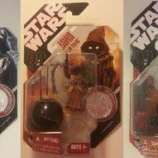 Figuras y Muñecos Star Wars: INTERESANTE LOTE COLECCION DE 3 FIGURAS STAR WARS CON MONEDA 30 ANIVERSARIO 2007. Lote 47732700