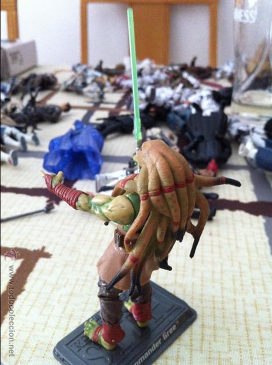 Figuras y Muñecos Star Wars: Maestro Jedi Kit Fisto, versión serie Clone Wars. Jugado por mi hijo. - Foto 3 - 52382718