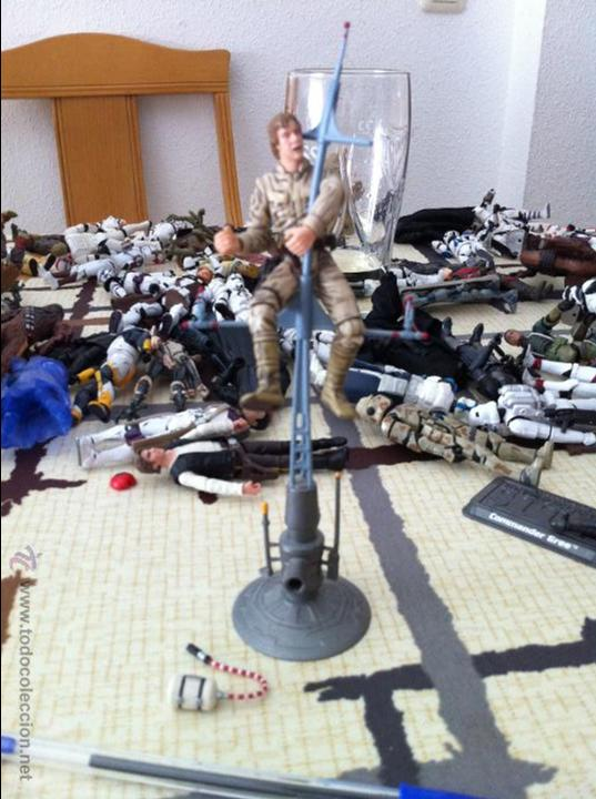 Figuras y Muñecos Star Wars: Luke en Bespin con todos sus accesorios. Jugado por mi hijo. - Foto 2 - 52383978