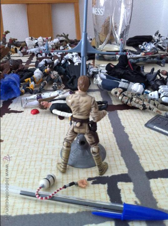 Figuras y Muñecos Star Wars: Luke en Bespin con todos sus accesorios. Jugado por mi hijo. - Foto 3 - 52383978