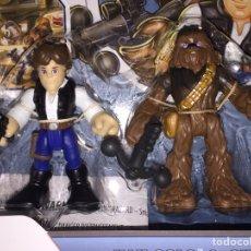 Figuras y Muñecos Star Wars: STAR WARS JEDI FORCÉ PLAYSKOOL HÉROES HAN SOLO&CHEBWACCA. Lote 80057179