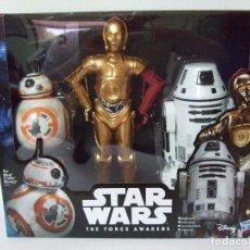 Figuras y Muñecos Star Wars: PACK DROIDES STAR WARS - C-3PO + BB-8 + RO-4LO - THE FORCE AWAKENS DISNEY HASBRO ROBOT FIGURA C3PO. Lote 89659600