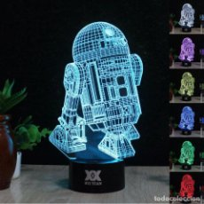 Figuras y Muñecos Star Wars: LAMPARA LUCES LED STAR WARS R2 - CAMBIAR COLOR INALAMBRICO - TACTIL - +7 COLORES DIFERENTES. Lote 95185563