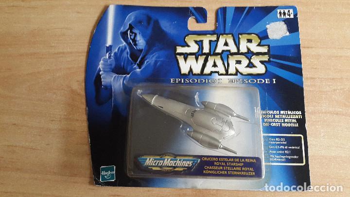STAR WARS MICROMACHINES (NAVE ESPACIAL) CRUCERO ESTELA DE LA REINA - EPISODE I -- NUEVO CON BLISTER (Juguetes - Figuras de Acción - Star Wars)