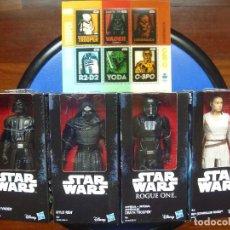 Figuras y Muñecos Star Wars: GRAN LOTE 4 FIGURAS STAR WARS REY DARTH VADER KYLO REN DEATH REGALO SELLOS HOLOGRÁFICOS CORREOS. Lote 106691747