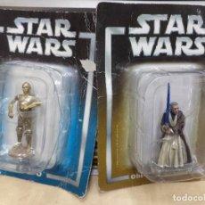 Figuras y Muñecos Star Wars: LOTE 2 FIGURAS DE PLOMO STAR WARS 2005 ESC.1/32.C 3PO Y OBI WAN KENOBI.. Lote 117160623