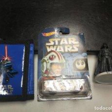 Figuras y Muñecos Star Wars: LOTE STAR WARS CARTERA MONEDERO, FIGURA DARTH VADER DEKORA Y VEHICULO ENFORCER HOT WHEELS. Lote 118370855