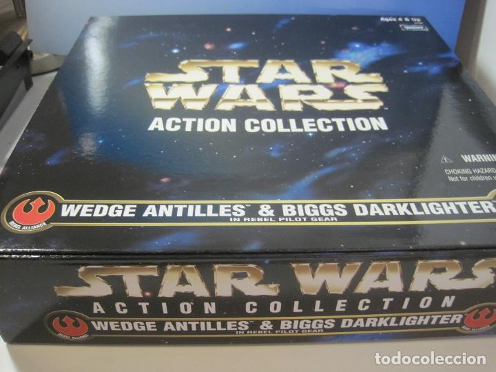 Figuras y Muñecos Star Wars: STAR WARS - WEDGE ANTILLES & BIGGS DARKLIGHTER PILOTOS REBELDES X-WING -30 CM- KENNER - 1998 EN CAJA - Foto 17 - 126779947