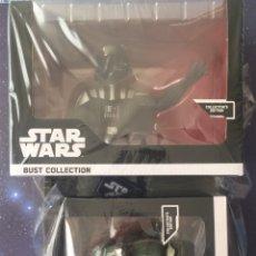 Figuras y Muñecos Star Wars: LOTE 2 BUSTOS STAR WARS 12 CMS PRECINTADOS DARTH VADER Y COMANDANTE GREE AOTC GUERRA GALAXIAS RESINA. Lote 129537323