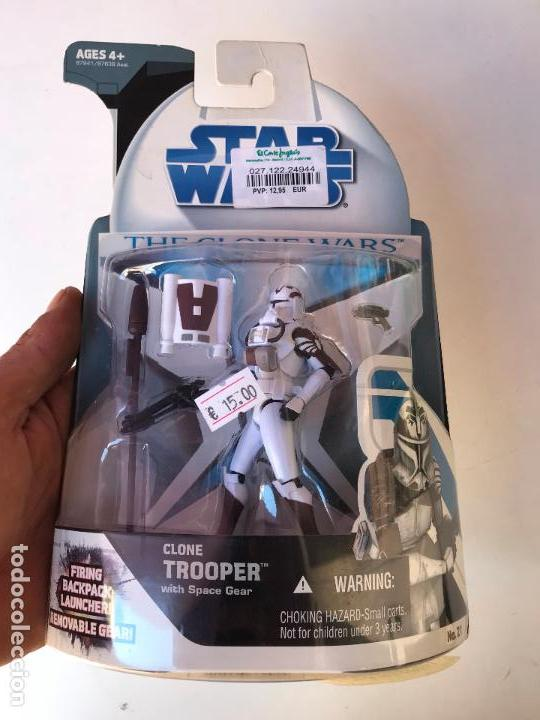 CLONE TROOPER WITH SPACE GEAR - STAR WARS THE CLONE WARS - NUEVA SIN USO (Juguetes - Figuras de Acción - Star Wars)