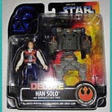 Figuras y Muñecos Star Wars: STAR WARS # HAN SOLO DELUXE # THE POWER OF THE FORCE - NUEVO EN SU BLISTER ORIGINAL DE KENNER.. Lote 135356986