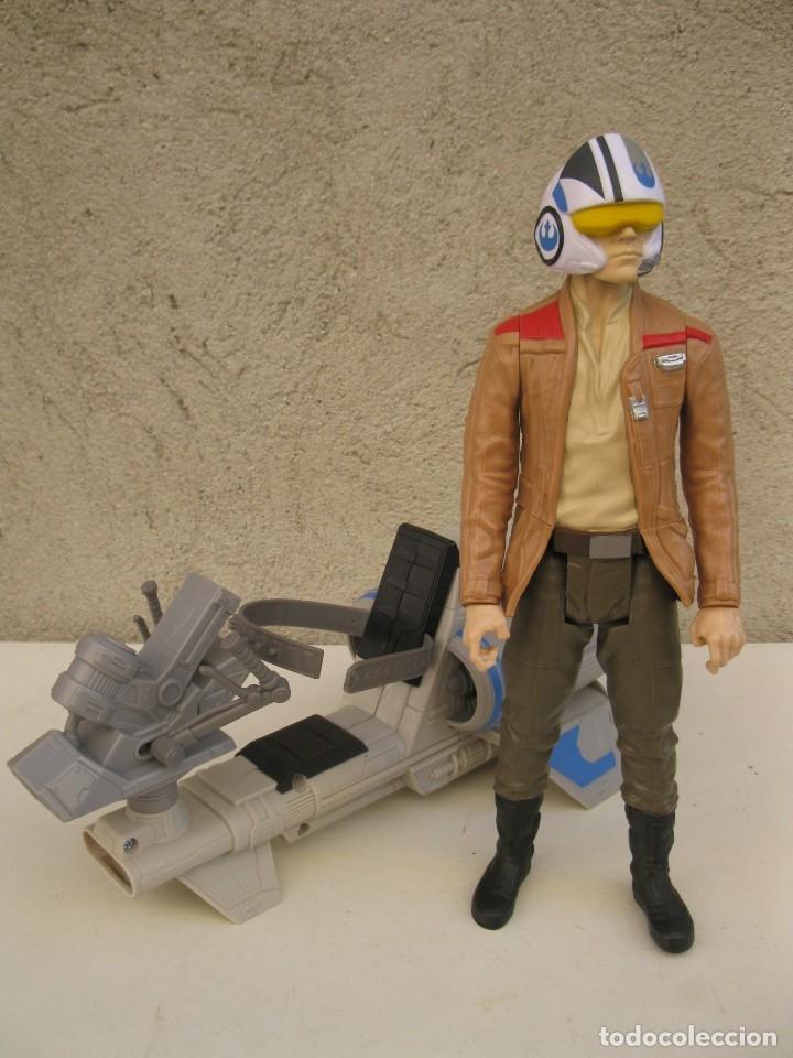 Figuras y Muñecos Star Wars: POE DAMERON CON SPEEDER BIKE - MOTO JET - STAR WARS - HASBRO - LFL. - Foto 10 - 137425902