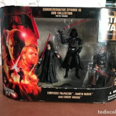 Figuras y Muñecos Star Wars: STAR WARS ROTS COMMEMORATIVE DVD COLLECTION PALPATINE DARTH VADER DOOKU NUEVA. Lote 137947618
