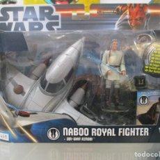 Figuras y Muñecos Star Wars: GUERRA DE LAS GALAXIAS - NABOO ROYAL FIGHTER + OBI WAN KENOBI - HASBRO - NUEVO. Lote 143623886