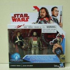 Figuras y Muñecos Star Wars: PACK FIGURA CHIRRUT IMWE + BAZE MALBUS - STAR WARS ROGUE ONE DISNEY HASBRO FIGURAS FORCE LINK MUÑECO. Lote 146710514