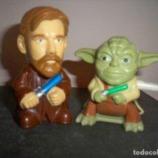 Figuras y Muñecos Star Wars: FIGURAS STAR WARS CABEZONES OBI WAN MAESTRO YODA. Lote 147630410