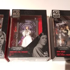 Figuras y Muñecos Star Wars: HAN, LUKE Y LEIA BLACK SERIES TITANIUM. Lote 152593122