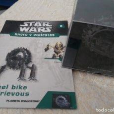 Figuras y Muñecos Star Wars: STAR WARS NAVES Y VEHICULOS WHEEL BIKE GRIEVOUS Y FASCÍCULO 8 PLANETA AGOSTINI FIGURA PLOMO. Lote 168345216