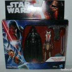 Figuras y Muñecos Star Wars: FIGURAS STAR WARS DARTH VADER Y AHSOKA TANO LANZA UN DISCO HASBRO 2015. Lote 172691635