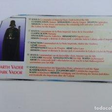 Figuras y Muñecos Star Wars: ANTIGUA FICHA STAR WARS DE DARTH VADER, DARK VADOR.. Lote 174327892