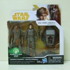 Figuras y Muñecos Star Wars: PACK FIGURA CHEWBACCA + HAN SOLO ( MIMBAN ) - A STAR WARS STORY DISNEY HASBRO FORCE LINK 2.0 3,75. Lote 177657242