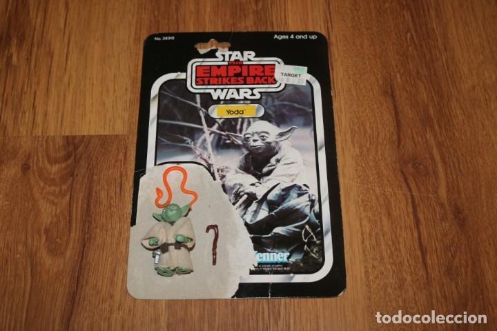 FIGURA YODA COMPLETO ORIGINAL LFL 1980 HONG KONG STAR WARS KENNER VINTAGE CARTÓN (Juguetes - Figuras de Acción - Star Wars)