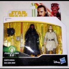 Figuras y Muñecos Star Wars: STAR WARS PACK # DARTH MAUL & QUI-GON JINN # FORCE LINK - NUEVO EN SU CAJA ORIGINAL DE HASBRO... Lote 182026603
