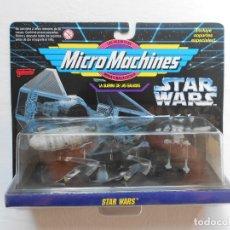 Figuras y Muñecos Star Wars: BLISTER STAR WARS MICROMACHINES CON 3 NAVES GUERRA GALAXIAS - ESPAÑOL - FAMOSA - AÑO 1995 - NUEVO. Lote 183090738