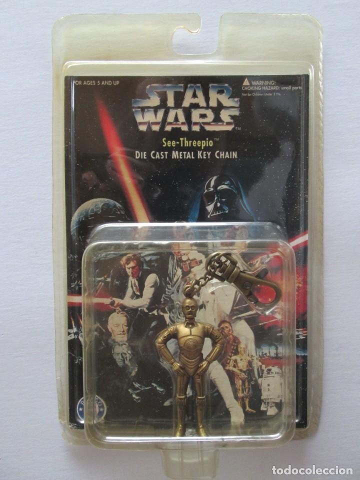 LLAVERO METÁLICO C3PO . PLACO TOYS 1996 . STAR WARS . ENVIO INCLUIDO (Juguetes - Figuras de Acción - Star Wars)