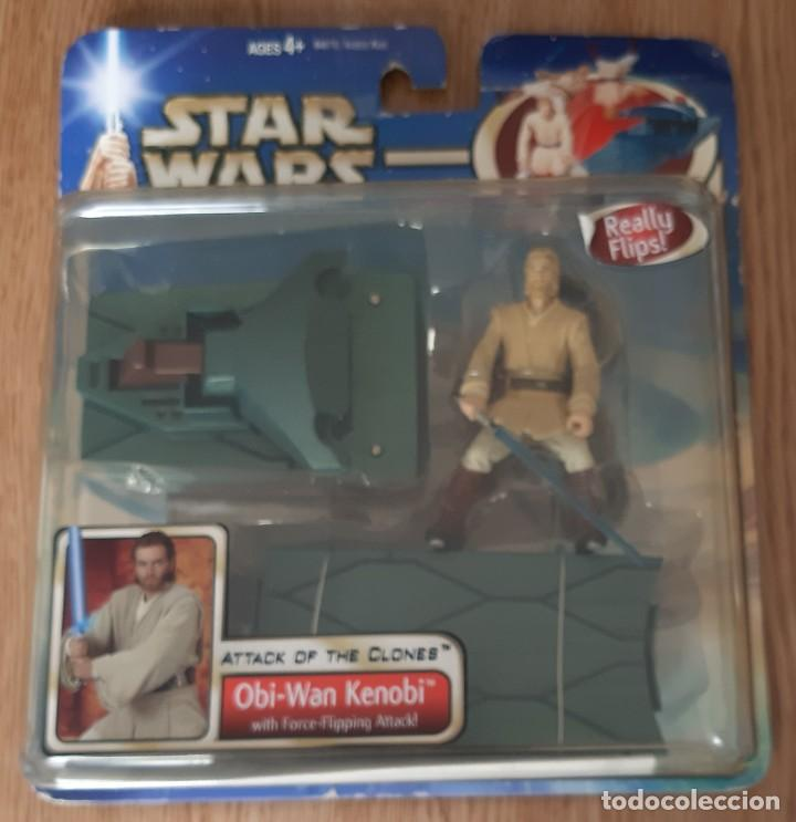FIGURA STAR WARS OBI-WAN KENOBI ATTACK OF THE CLONES FORCE-FLIPPING NUEVA EN BLISTER (Juguetes - Figuras de Acción - Star Wars)