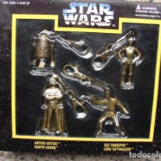 Figuras y Muñecos Star Wars: 4 LLAVEROS STAR WARS - DARTH VADER - LUKE SKYWALKER - 3CPO - R2D2 - PLACO TOYS. Lote 194339923