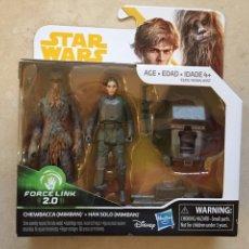 Figuras y Muñecos Star Wars: PACK FIGURAS CHEWBACCA & HAN SOLO - STAR WARS - FORCE LINK 2.0 - HASBRO KENNER VINTAGE. Lote 220770776