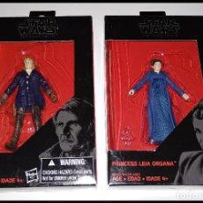 Figuras y Muñecos Star Wars: LOTE DE 2 FIGURAS STAR WARS # HAN SOLO Y LEIA ORGANA # THE BLACK SERIES - 10 CM - NUEVOS, HASBRO.. Lote 222063115