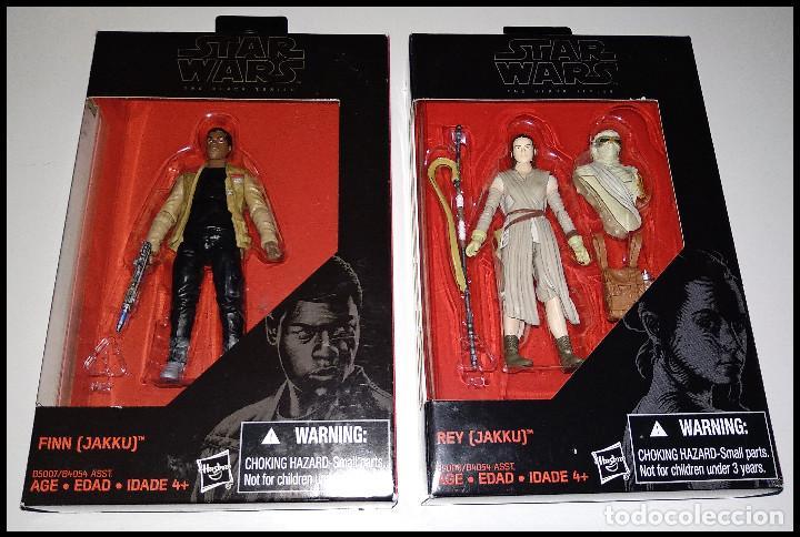 LOTE DE 2 FIGURAS STAR WARS # FINN Y REY (JAKKU ) # THE BLACK SERIES - 10 CM - NUEVOS, HASBRO. (Juguetes - Figuras de Acción - Star Wars)