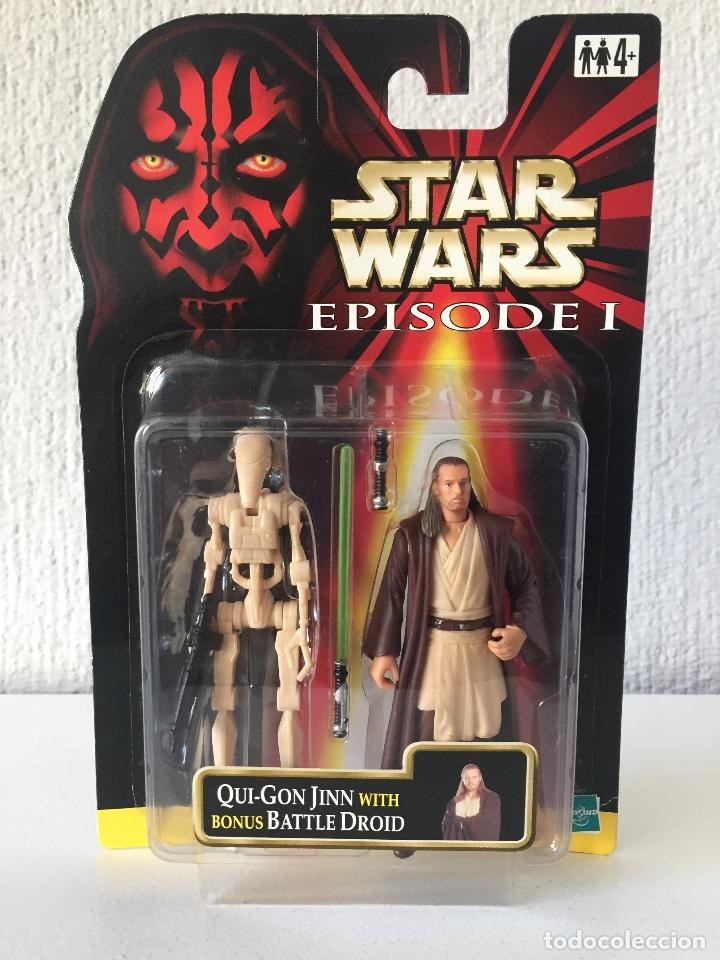 QUI-GON JINN (NABOO) WITH BONUS BATTLE DROID - STAR WARS - EPISODE I - 1999 - ¡NUEVA! (Juguetes - Figuras de Acción - Star Wars)