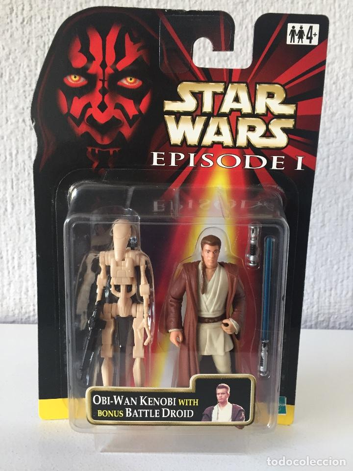 OBI-WAN KENOBI (NABOO) WITH BONUS BATTLE DROID - STAR WARS - EPISODE I - 1999 - ¡NUEVA! (Juguetes - Figuras de Acción - Star Wars)