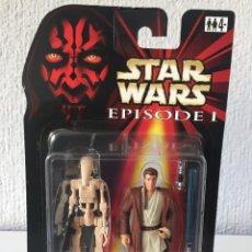 Figuras y Muñecos Star Wars: OBI-WAN KENOBI WITH BONUS BATTLE DROID - STAR WARS - EPISODE I - 1999 - ¡NUEVA!. Lote 222065626