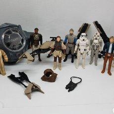 Figuras y Muñecos Star Wars: LOTE STAR WARS KENNER VINTAGE TIE FIGHTER SPEEDER HAN SOLO LEIA LANDO EWOKS EMPERADOR. Lote 224433168