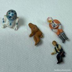 Figuras y Muñecos Star Wars: LOTE SATR WARS - MICROMACHINES - MICROFIGURAS NAVE - R2D2 - HAN SOLO - CHEWBACCA - LUKE - 2 CM. Lote 245258645