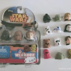 Figuras y Muñecos Star Wars: LOTE 17 STAR WARS WIKKEEZ COMANSI GUERRA GALAXIAS EWOK JABBA C3PO YODA FETT STORMTROOPER EMPERADOR. Lote 258080450