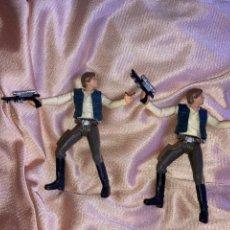 Figuras y Muñecos Star Wars: HAN SOLO HASBRO 2001 LFL 2 FIGURAS PINTURA DIFERENTE(CON SU ARMA ) USADOS. Lote 278584483