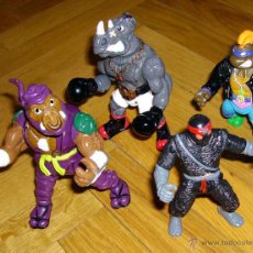 Figuras y Muñecos Tortugas Ninja: TORTUGAS NINJA, TEENER MUTANT NINJA TURTLES, 1991: BEBOP, ROCKSTEADY, DONATELO, NINJA CLAN DEL PIE . Lote 54495998